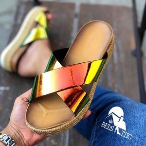 Shoes - Holographic Neon Orange Flatform Slip On